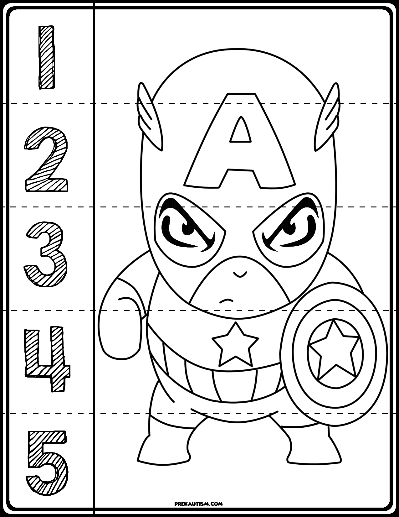 Captain America 1 5 Counting Puzzle