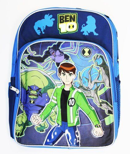 Full Size Blue Ben 10 Backpack With Large Zip Up Front Pocket