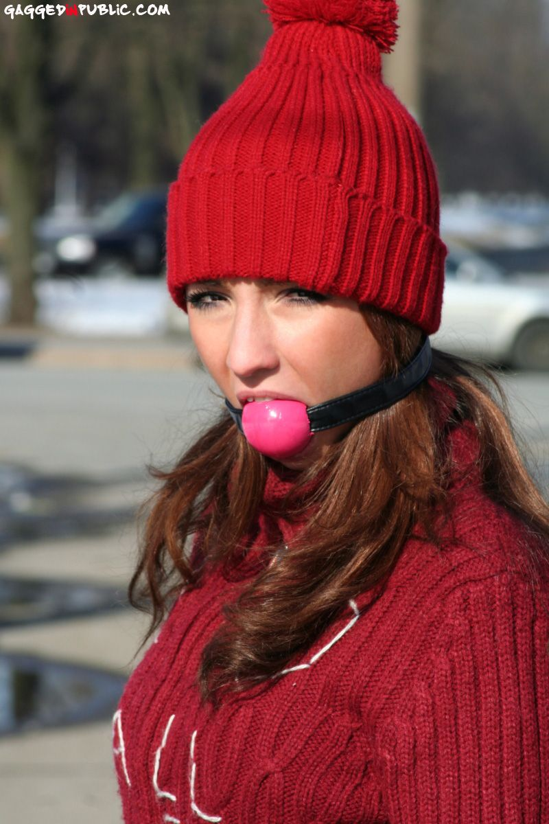 Gaggedinpublic Girl In Winter Outfit Ballgagged Straight