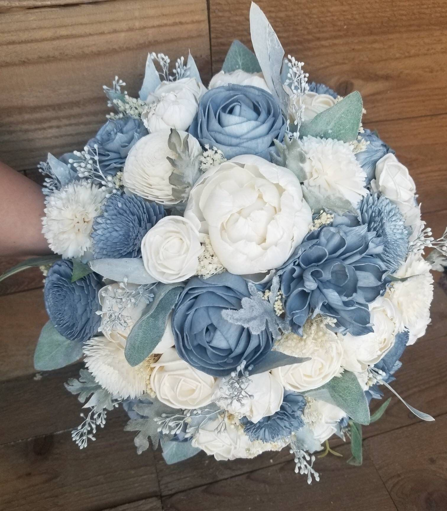 Custom Bouquet Dusty Slate Steel Blue Sola Wood Flower Faux Etsy Wood Flower Bouquet Sola Wood Flower Bouquet Blue Wedding Bouquet