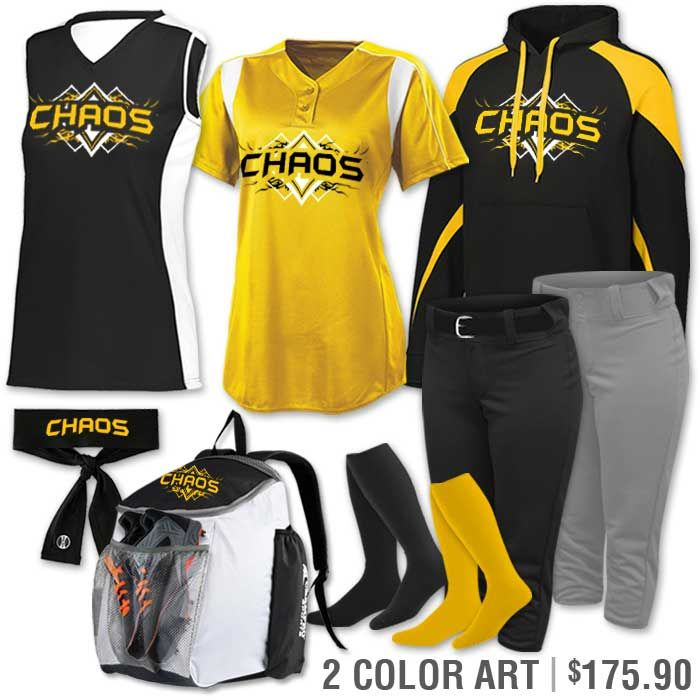 cead59732a2 Softball Uniform Team Pack Paragon shown in Black & Gold. More colors  available. Youth & Adult sizes.