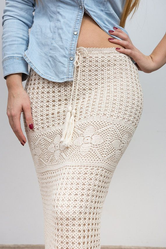 bd0c2d643 Encaje de Maxi falda beige Boho ganchillo por CrochetAndPassion ...