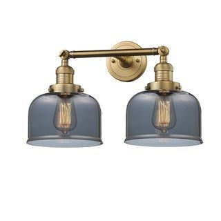 Photo of Innovations lighting large bell 2 light adjustable wall lamp (lamps included / vintage light bulb included / LED dimmable – smoked plated – brushed brass