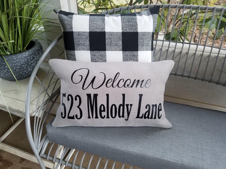 Welcome Outdoor Burlap Pillow Farmhouse Style Decor Family Gift