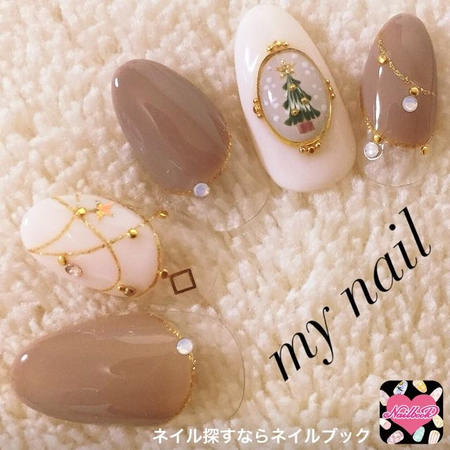 冬/クリスマス/ハンド/変形フレンチ/ブローチ , my_nailのネイル