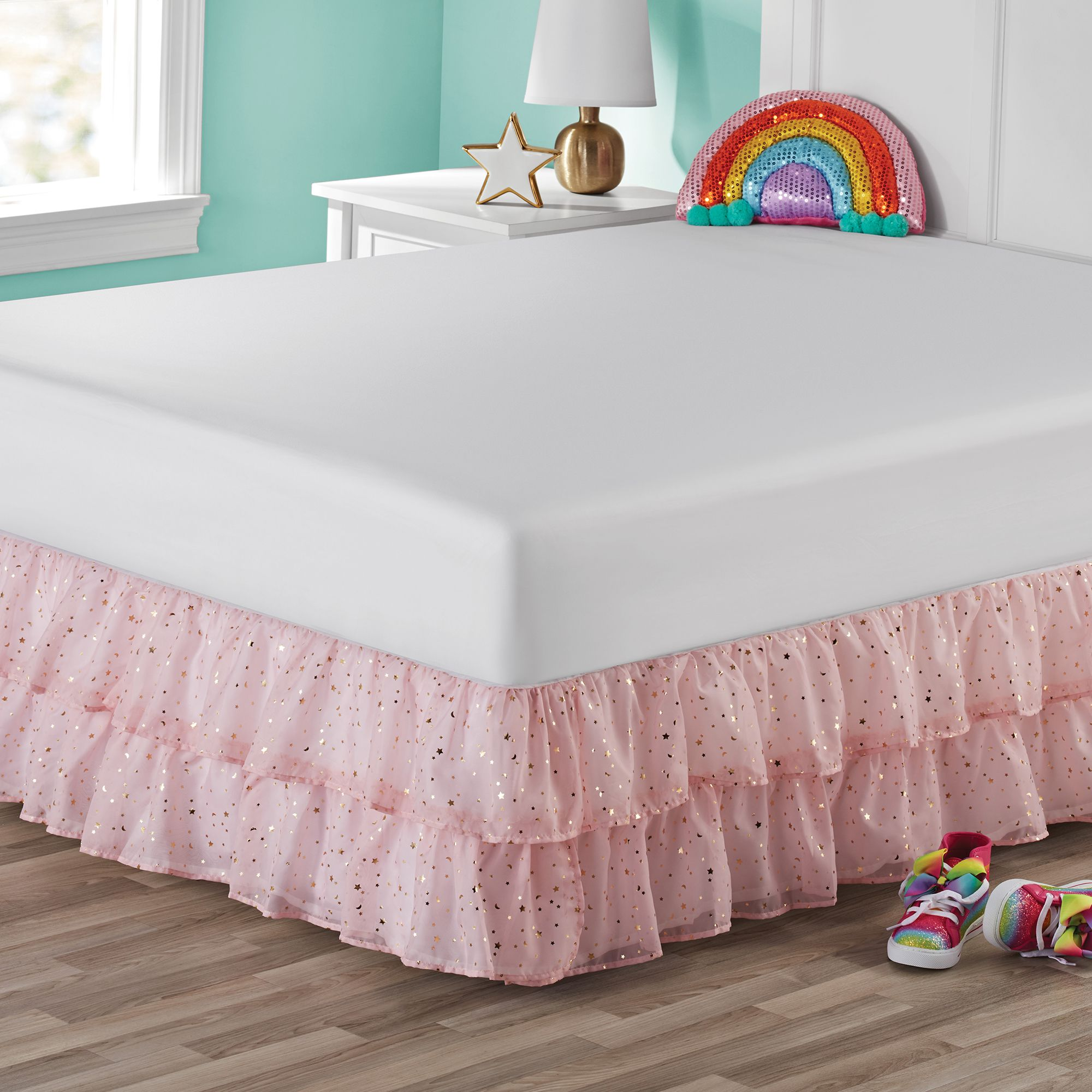 Your Zone Organza Two Tier Ruffle Bed Skirt Gold Metallic Printed Polar Pink Twin Walmart Com Ruffle Bedding Bedskirt Ruffle Bed Skirts Bedskirts for twin beds