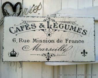 French Cafe Sign   12 X 24   French Kitchen Signs   Paris Signs   Marseille