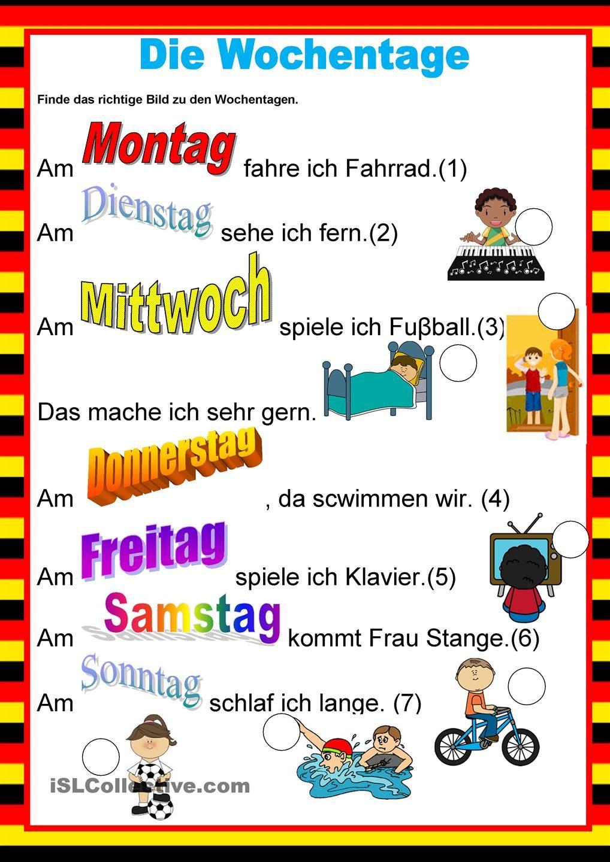 Willkommen auf Deutsch - Wochentage | niemiecki | Pinterest ...