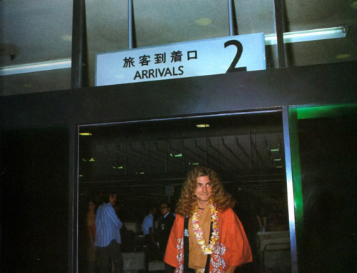 Jonesy and Robert arriving in Japan, 1971