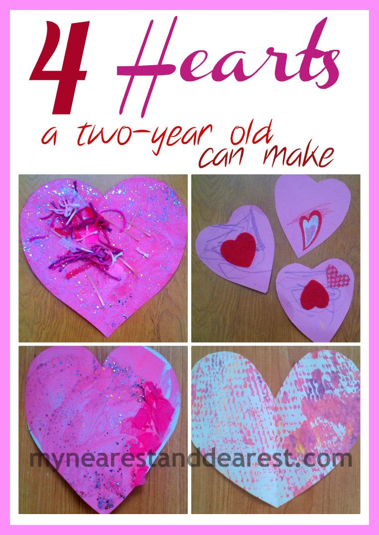 Four heart crafts for two-year olds