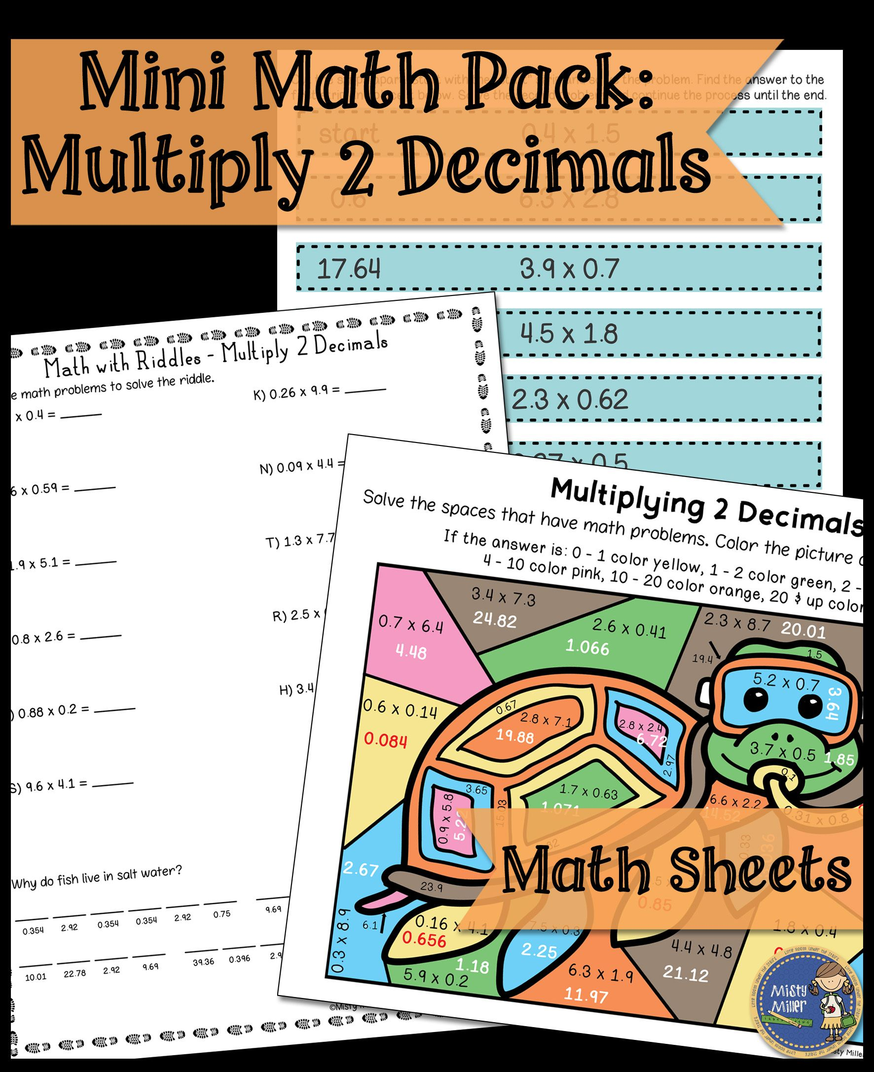 Multiplying Two Decimals Math Activities Puzzle Riddle And