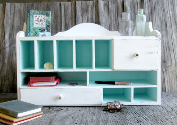 Shabby Chic Desk Organizer White Chippy Paint By WeeLambieVintage, $65.00  Robins Egg Blue