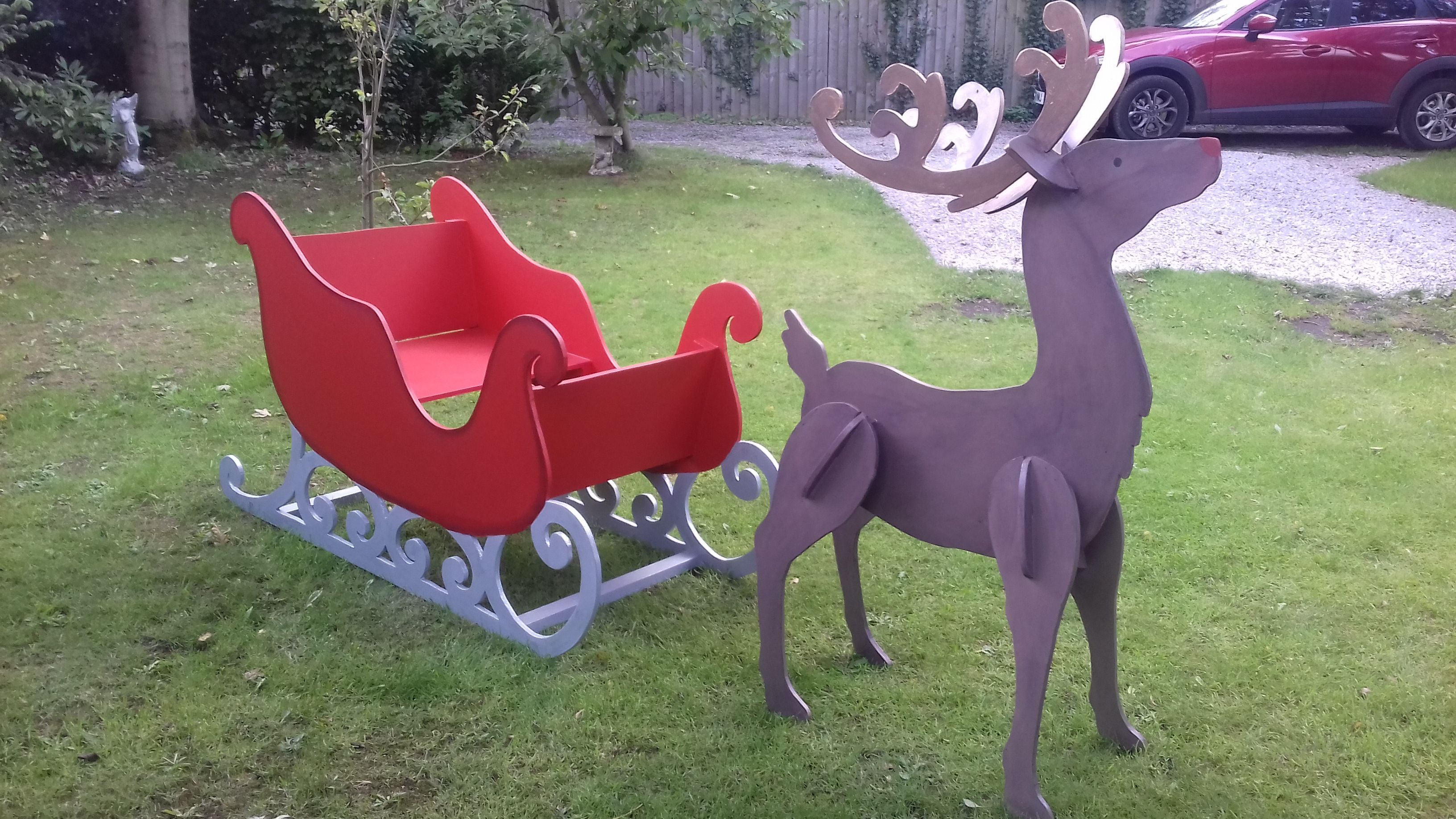Large Reindeer MDF Unpainted Wooden Christmas Home Garden Decoration