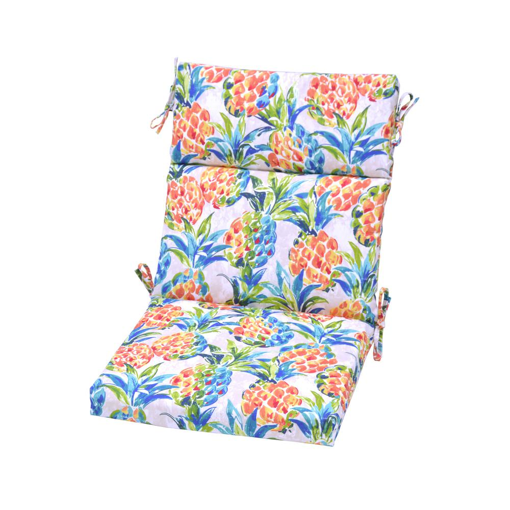 Hampton Bay Pineapples Outdoor High Back Dining Chair Cushion High Back Dining Chairs Dining Chair Cushions Outdoor Dining Chair Cushions