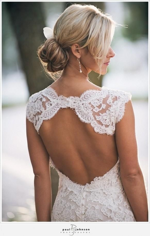 Monique lhuillier Scarlet French Lace Open Back Wedding Dress | Lace ...