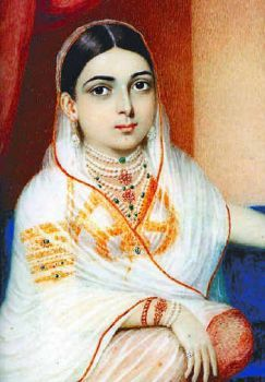 An oil painting of Khair-un-Nissa by George Chinnery. c. 1805. She was an Indian Hyderabadi noblewoman who married British Lieutenant Colonel James Achilles Kirkpatrick.