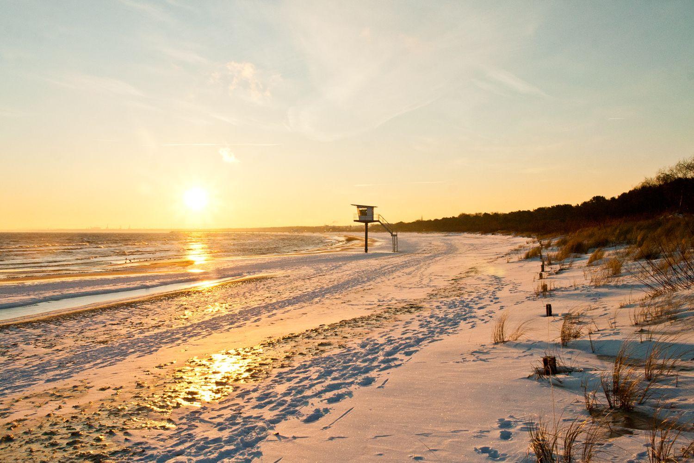 Sonnenwinterurlaubsstrand live von Usedom Ostsee
