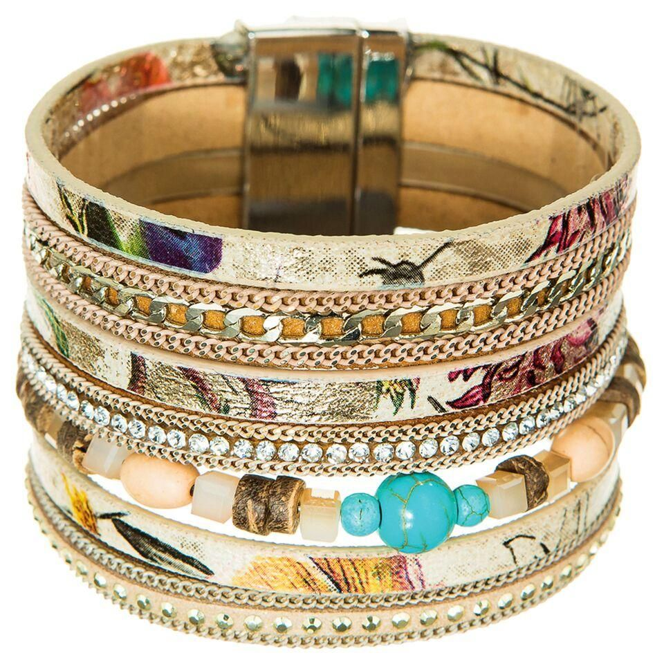 Great2bChic Women's 7'' Gold Multicolored Natural Faux Leather Magnetic Closure Bracelet