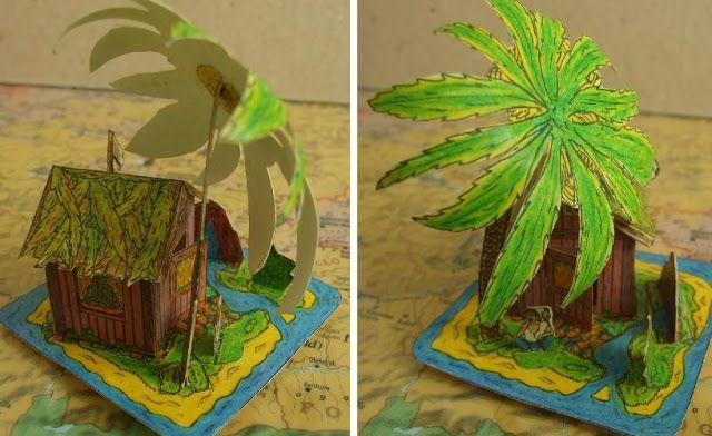 Robinson Crusoe`s Island And Roman House - by Somodi Zoltan Two pretty and easy-to-build models by Somodi Zoltan. Just one sheet for the two models.