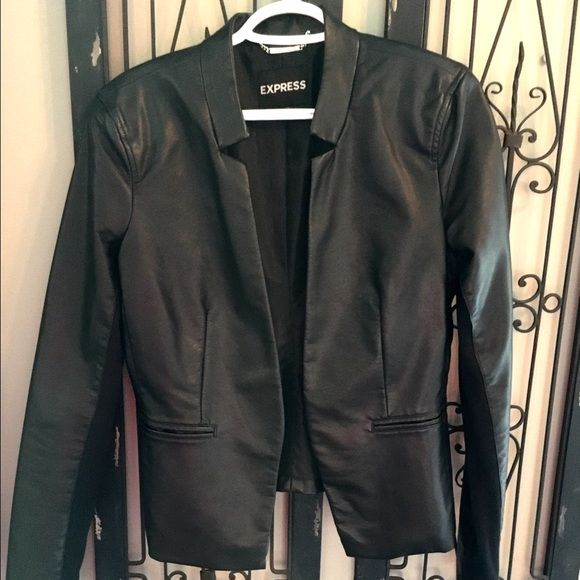 Express Black Faux Leather Blazer Jacket Very cute Faux leather blazer from Express. Perfect condition. It's too big for me. I bought it and since lost weight. The sleeves are stretchy and look very cute pushed up or left down. Express Jackets & Coats Blazers