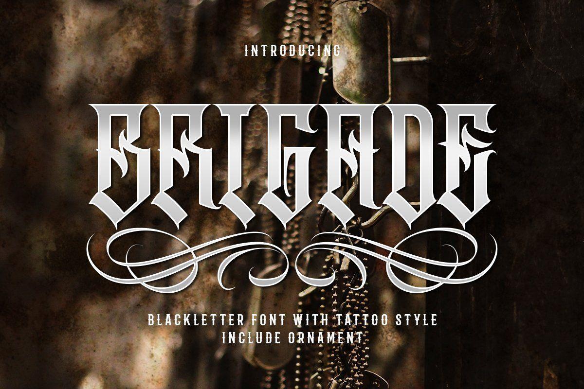 Brigade Custom logo design, icons, Instagram font