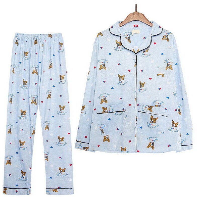Pembroke Welsh Corgi Dog Pajamas Long Sleeve Top Shirt Bottom Long Pants Set Pem Pajamas Women Pajama Set Women Pajama Set