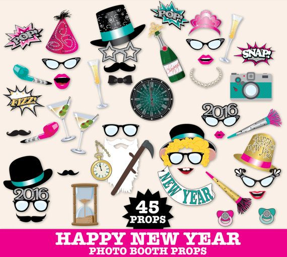 New Years Eve Photo Booth Props, New Years Eve Party, New ...