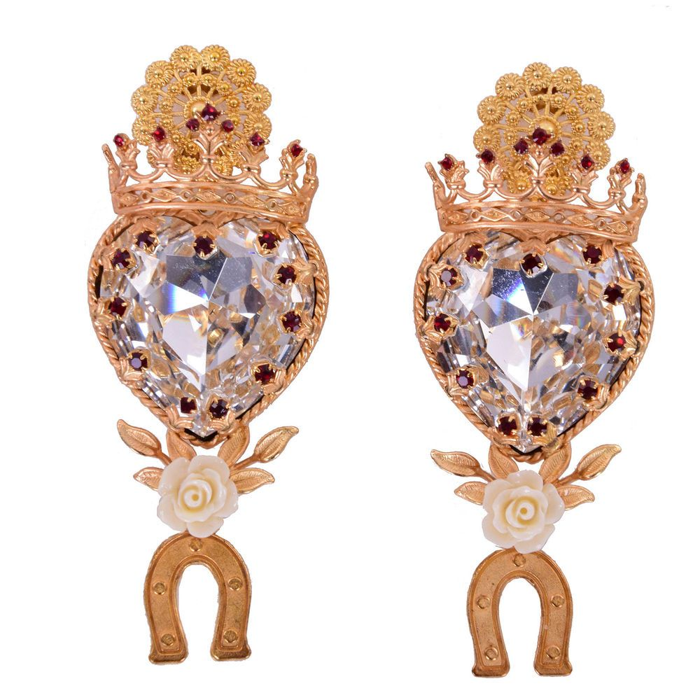 5b4e580c5ebd DOLCE   GABBANA RUNWAY Crystal Heart Crown Rose Clips Earrings Gold 06434  (eBay Link)