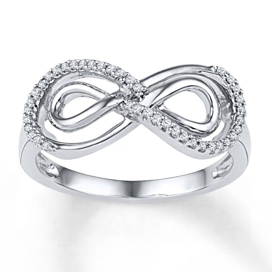 Jared double infinity ring 16 ct tw diamonds sterling silver a double infinity symbol sparkles with diamonds on this beautiful ring for her diamond total carat weight may range from carats biocorpaavc Image collections