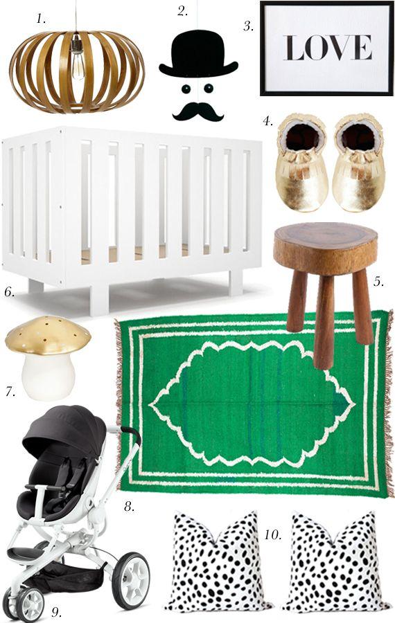 White, Black & Green Nursery Mood Board « Spearmint Baby