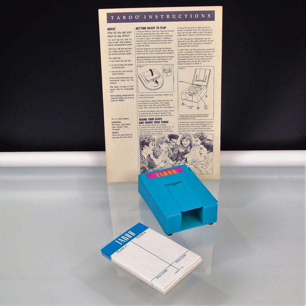 1989 Milton Bradley Taboo Board Game Parts Card Holder Score Pad Instructions Miltonbradley Taboo Board Game Taboo Game Taboo