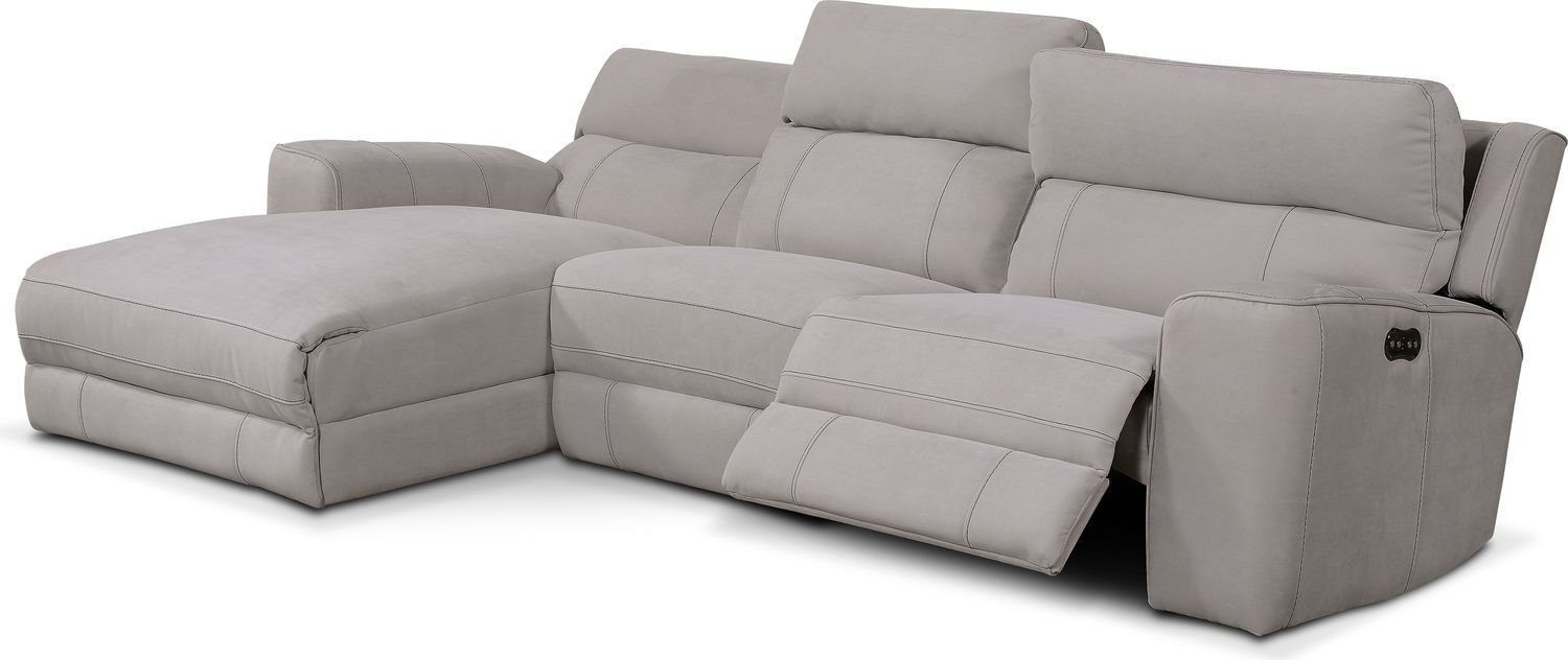 Value City Furniture Newport 3 Piece Power Reclining Sectional With Left Fa Sectional Sofa With Recliner Sectional Sofas Living Room Sectional Sofa With Chaise
