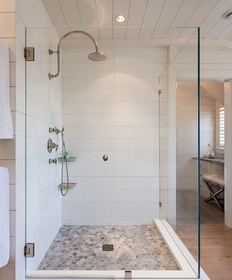 Gorgeous Shiplap Look Bathroom Using Milled Corian Instead Of Timber Cladding In The Wet Ar Farmhouse Master Bathroom Bathroom Remodel Master Bathrooms Remodel