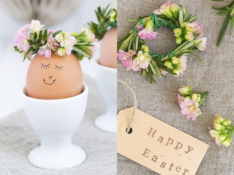 Happy Easter, Blumenkranz, DIY, Ostereier