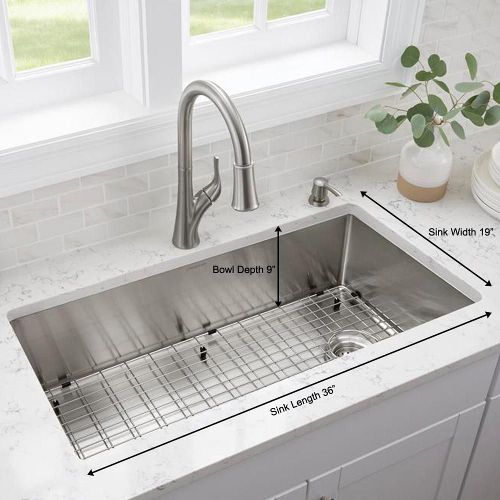Glacier Bay Brushed Stainless Steel 36 In 18 Gauge Tight Radius Single Bowl Undermount Kitchen Sink With Grid And Strainer Fsur3619a1 The Home Depot In 2021 Single Basin Kitchen Sink Undermount Kitchen