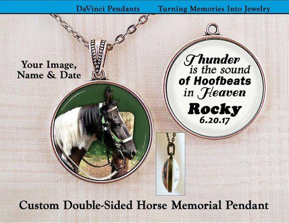 Horse Memorial Pendant, Thunder is the Sound of Hoofbeats in Heaven, Memory Keepsake Photo Charm Hor