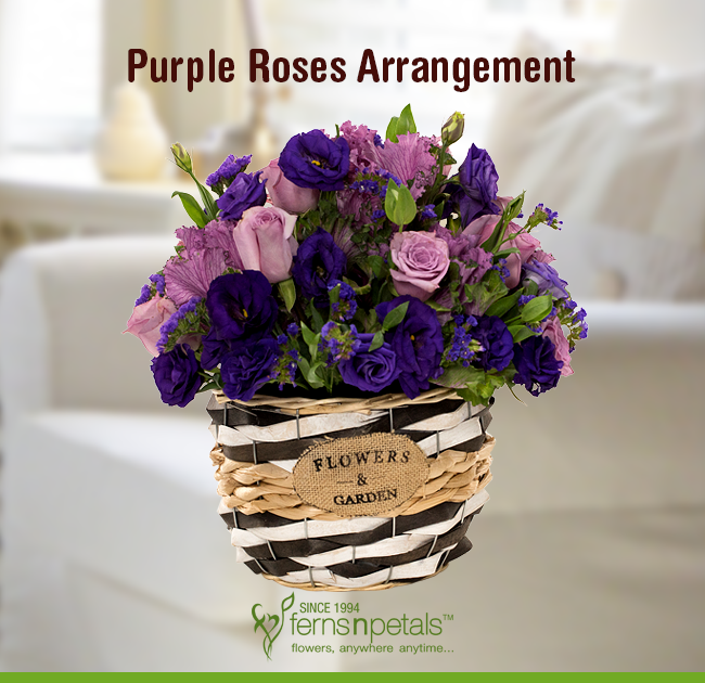 This Purple Arrangement Makes A Perfect Gift For A Friend S Birthday Or Anniversary Order This Vivacious Be Purple Roses Rose Arrangements Flower Arrangements