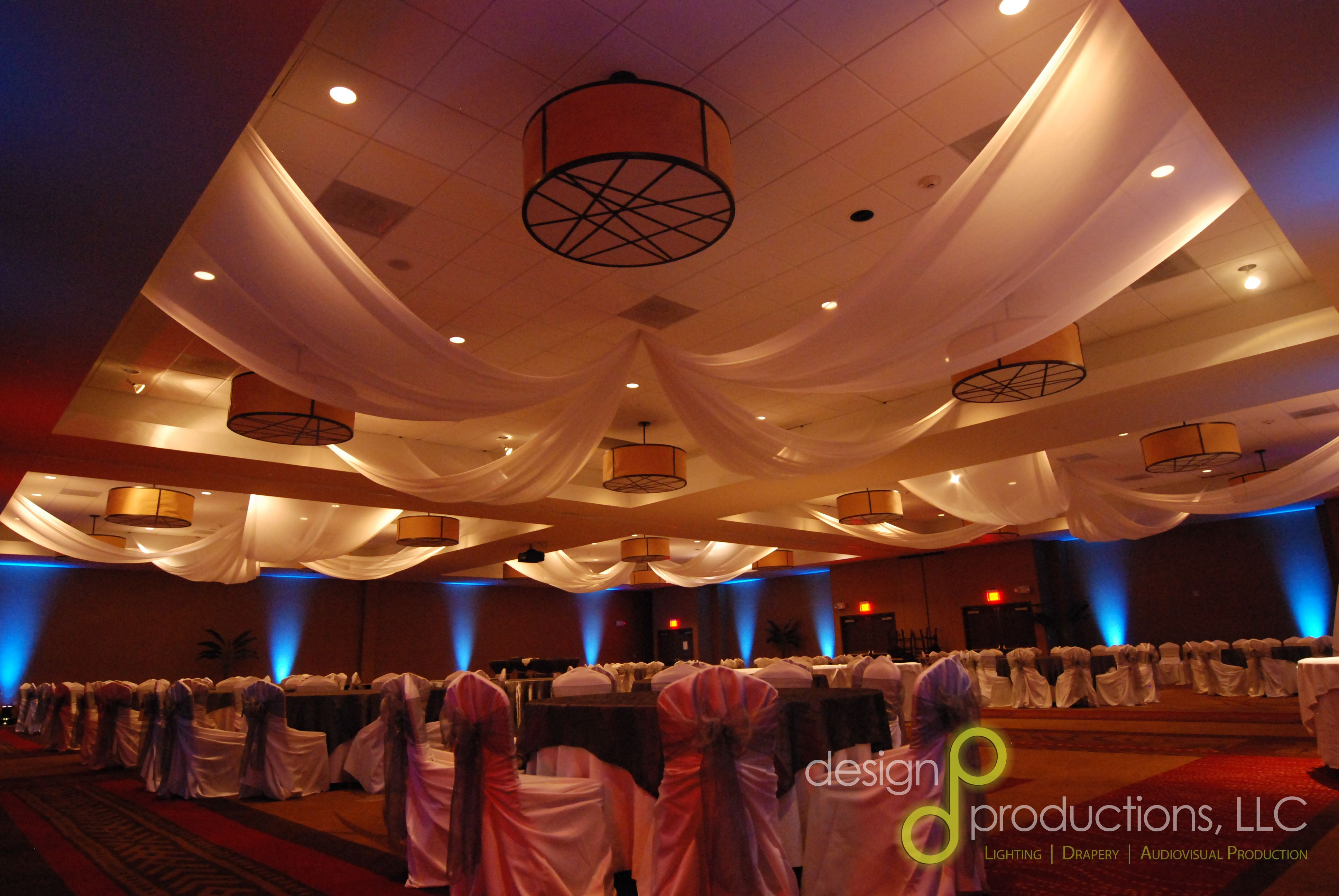 Wedding Drapery With Uplighting In Birmingham Alabama By Design Productions Lighting Audiovisual