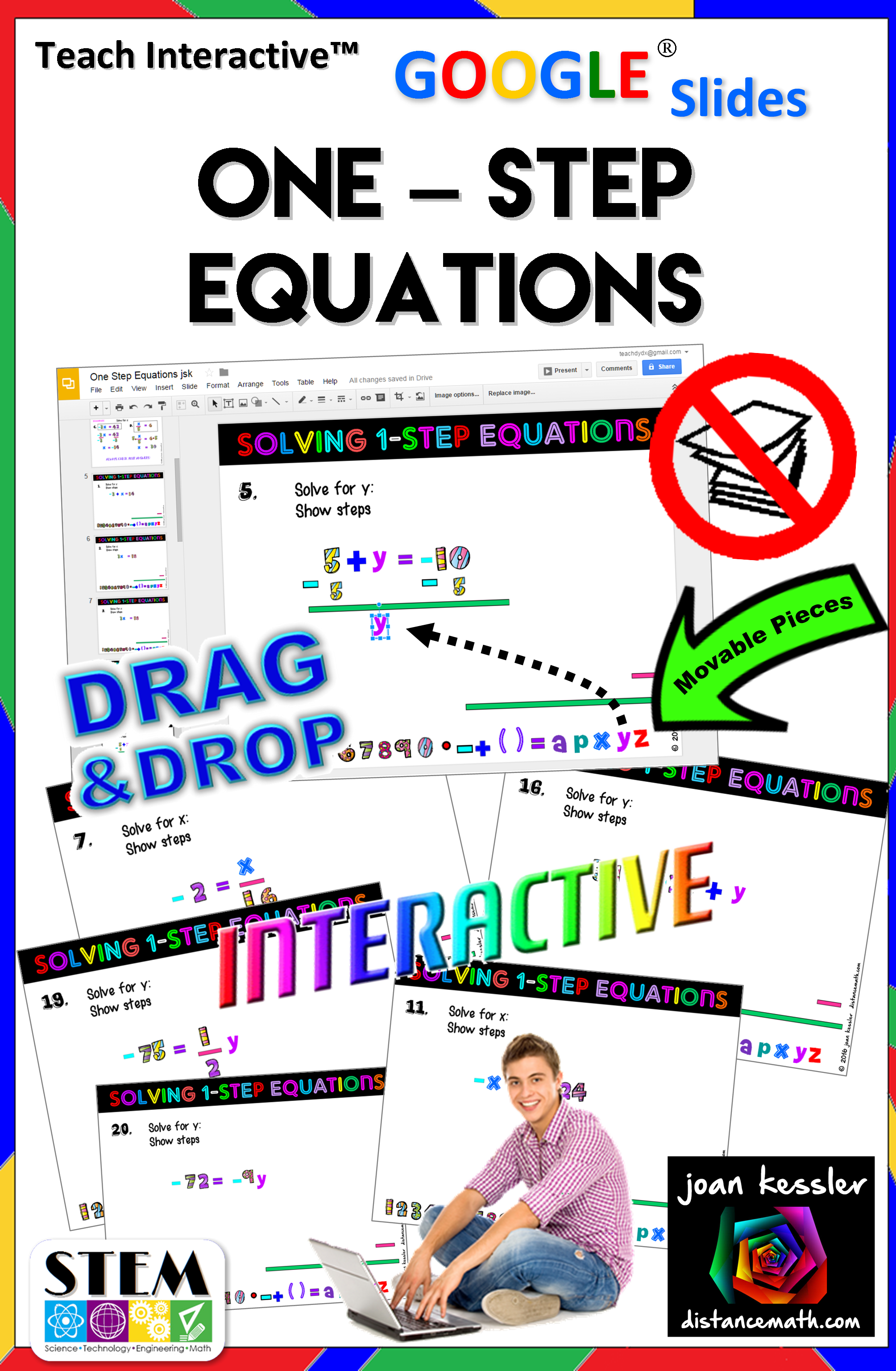 Algebra One Step Equations Interactive With Slides Drag Amp Drop