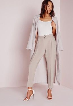 Belted High Waist Cigarette Trousers Grey