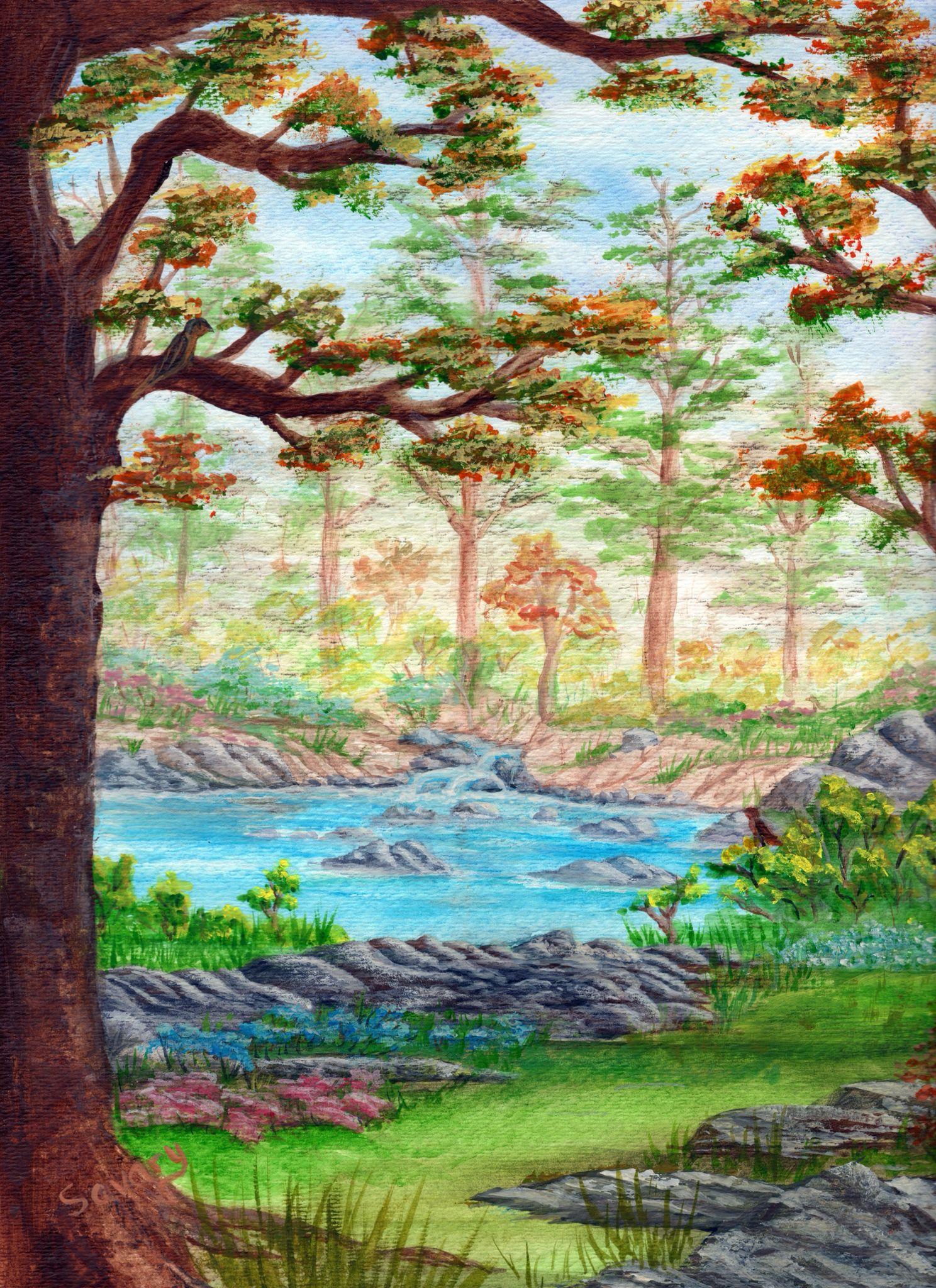 Spring Morning Watercolor Barb Savary, 2013