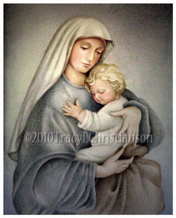 7fda028ad4391 Madonna and Child (C), Virgin Mary and Jesus 8x10 Print Free ...