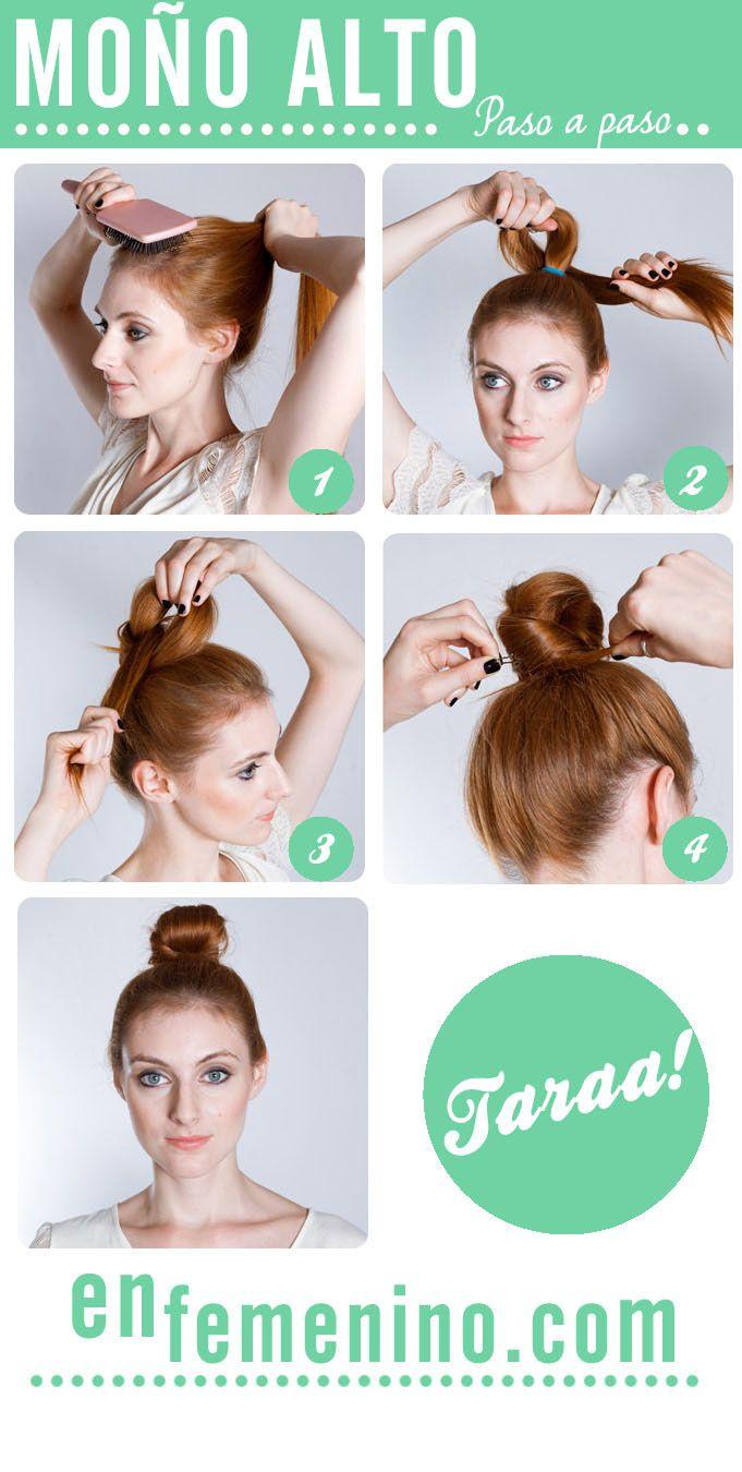 Tutorial de peinado moño alto despeinado beauty ideas hair style
