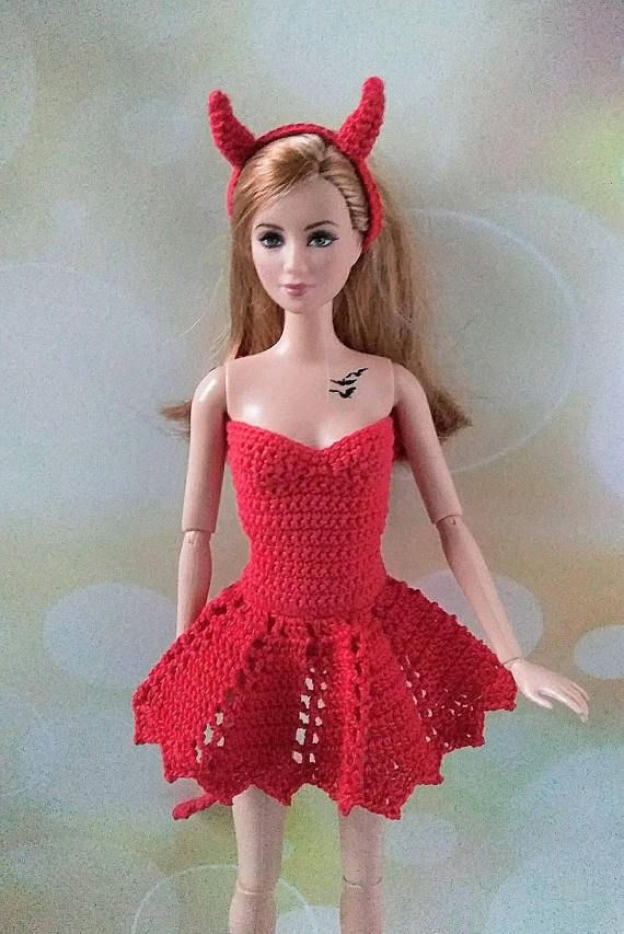 Barbie doll clothes. Crochet fansy witch dress - Devil Halloween ...