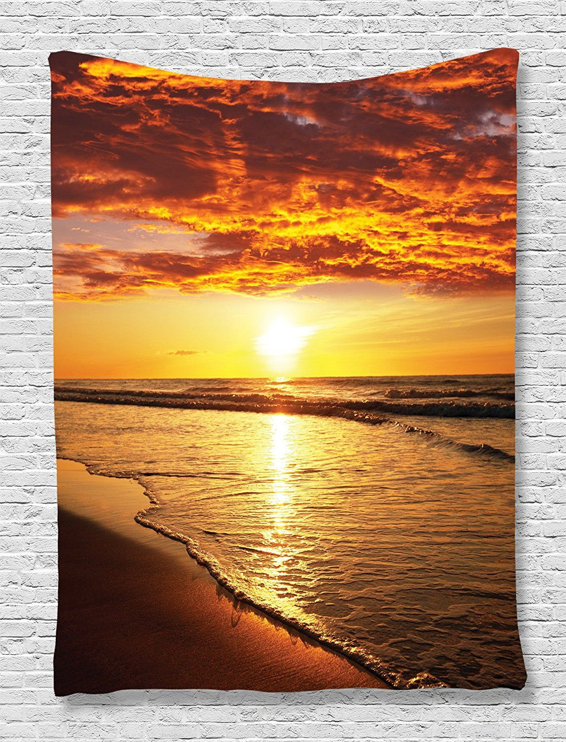 Beach Tapestry Hawaiian Decor by Ambesonne, Scenery Picture Print of ...