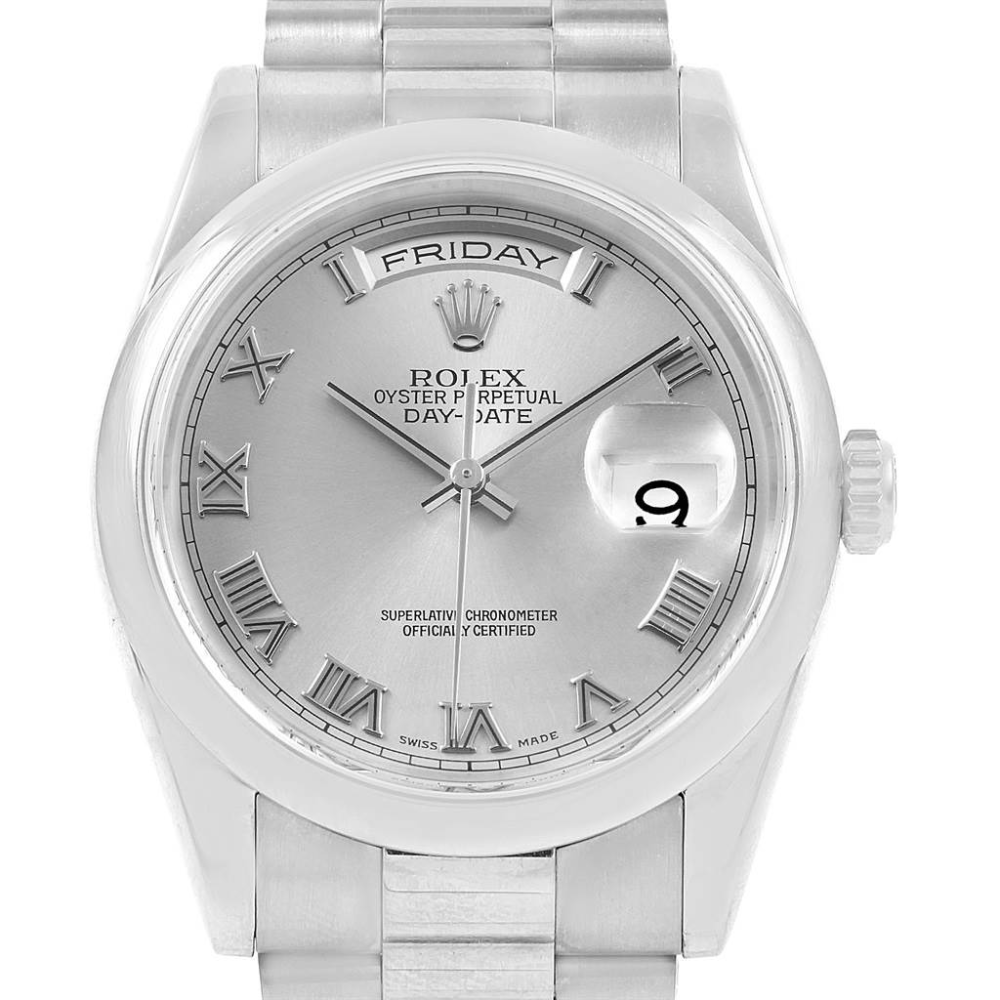 Rolex President Day-Date 18k White Gold Roman Dial Mens Watch 118209 #rolexwatches