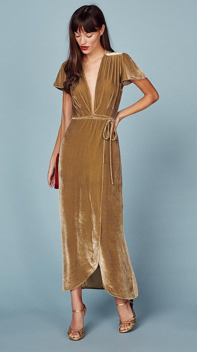 30921d5555dff Gemma Dress// #dress #MaxiDress #gold #WrapDress #velvet #fashion #style # stylish #RefBabe #reformation @reformation