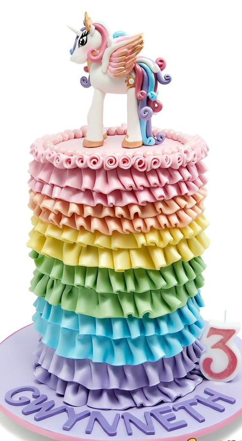 Princess Calista Rainbow Ruffled Cake