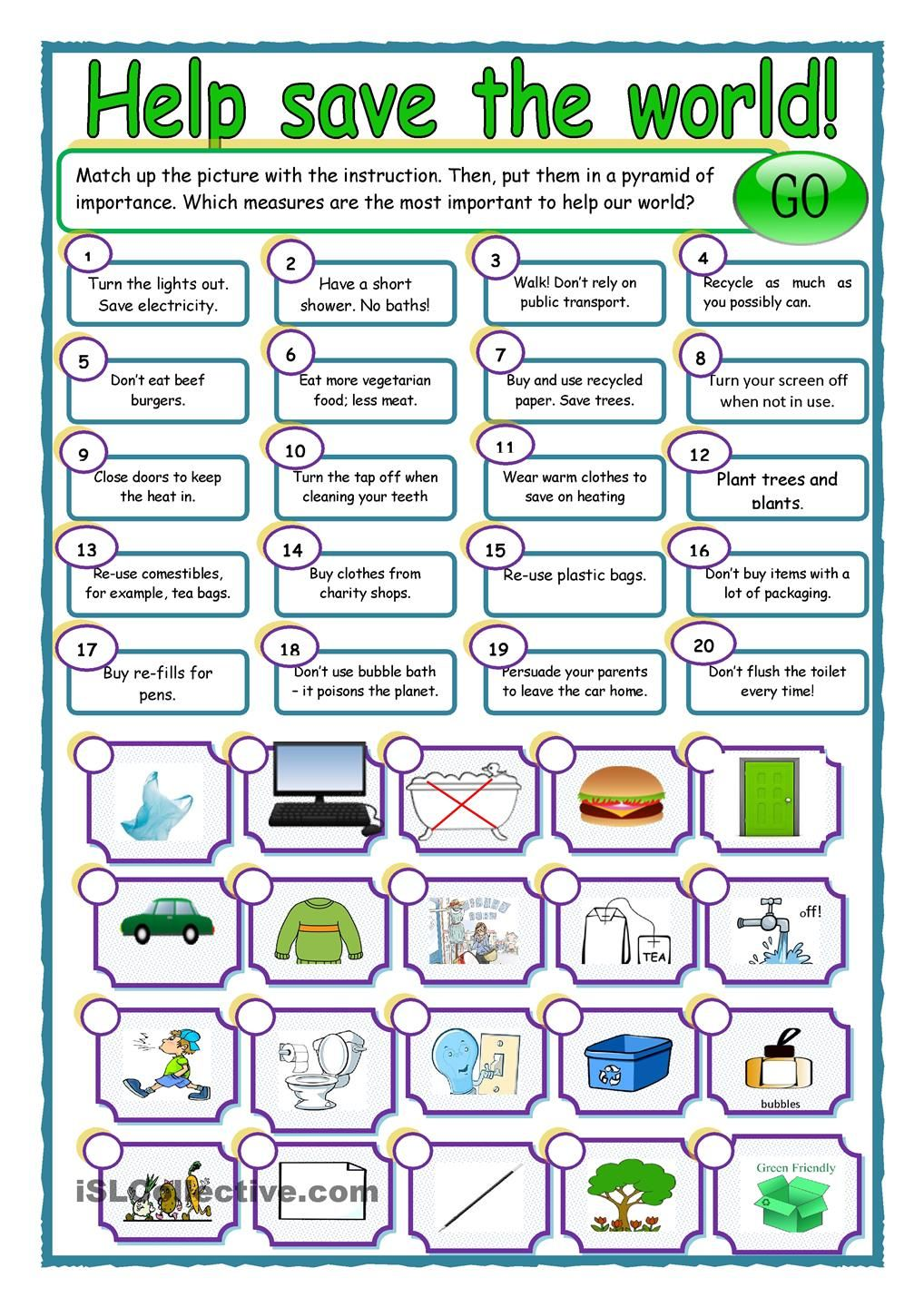 save our world esl worksheets of the day pinterest english worksheets and environment. Black Bedroom Furniture Sets. Home Design Ideas