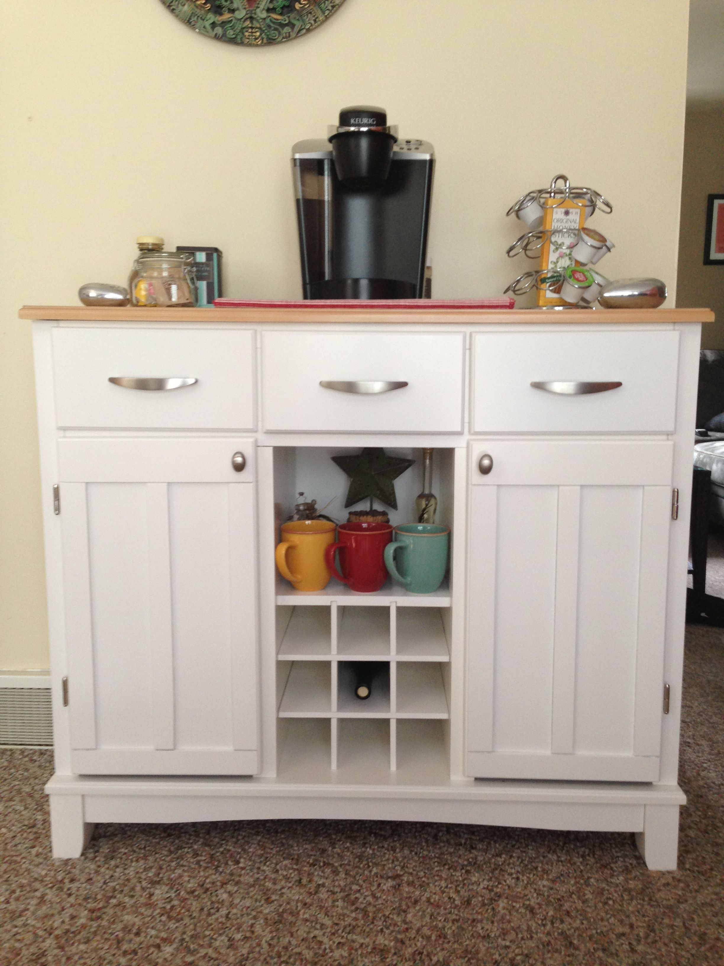 White buffet table furniture - White Buffet Table Coffee Station